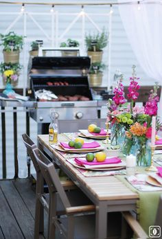 Beautiful Patio | Deck Makeover | Outdoor Entertaining | Outdoor Space | Table scape | al fresco | Herb Garden | String Lights | Grill www.styleyoursenses.com