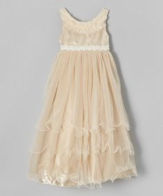 Another great find on #zulily! Mocha Ruffle Lace-Trim Dress - Toddler & Girls by Bijan Kids #zulilyfinds