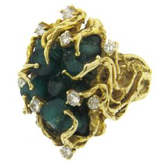 1960s Chatham Emerald Diamond Gold Free Form Ring