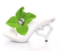 White heart shaped heels green floral with gemstone strap Elastic slide sandals  #Allens #Slides