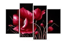 """Grandes Rojo Y Negro Flor Floral Lona imagen el arte de pared Split Multi Panel de 40 """""""