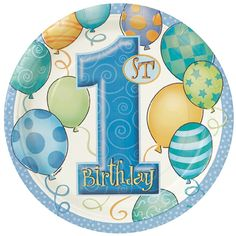 """Custom & Unique Inch} 8 Count Multi-Pack Set of Medium Size Round Circle Disposable Paper Plates w/ Cute Polka Dotted Baby Boys First Birthday Balloons """"Blue, White, Green & Orange Colored"""" mySimple Products First Birthday Balloons, Boy First Birthday, 1 Birthday, Birthday Cards, 1st Birthday Party Supplies, Boy Birthday Parties, Party Plates, Party Tableware, Dinner Plates"""
