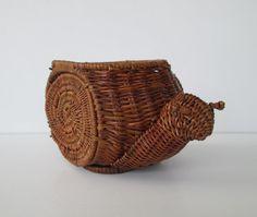 Cute Wicker Snail Basket by goodvintage on Etsy