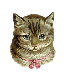 Antique Clip Art | Vintage Cat Clip Art: Victorian Die Cut of Tabby Cat with Pink Bow