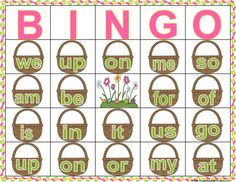 "Easter activity to reinforce sight words! Use Jelly Beans to ""put"" inside the the Easter Baskets. Easter Bingo, Easter sight word practice, Easter sight words, Sight word practice, sight word game, sight word worksheet, Spring game. Kindergarten and First Grade games, Easter phonics, Easter reading games, small sight words, fun Easter activities, Spring break activities, Jelly bean bingo.   Organic Jelly beans are great for students with allergies. chocolate eggs also work!"