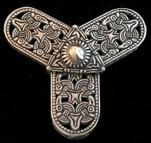 """Jarnalder Trefoil Borre Style Brooch  Norway,  9th Century Lightweight but dependable with openwork design  sturdy hand riveted Spring Steel pin   Approx.  3 1/4""""  Sterling Silver ... $385.00  Bronze ... $195.00"""