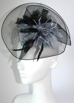 Black & Gray hair fascinator - Inspired by Claire Jane, LLC