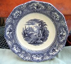 Early Blue Black Transfer Ware Plate Medina  by 4HollyLaneAntiques, $80.00