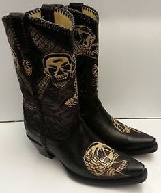 Details about Skull & Bone Inlay Corral Men's Black Crackle ...