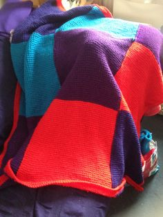 I made. Made in colour blocks, joining as they were made entrelac style, because I hate sewing everything together at the end. Tunisian Crochet Blanket, Knot, Hate, Colour, Knitting, Sewing, How To Make, Style, Tunisian Crochet