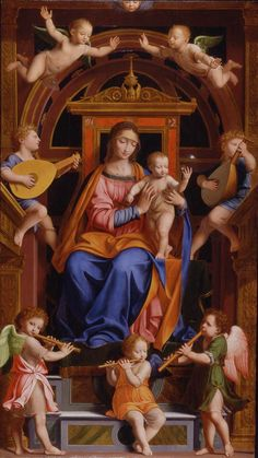 Bernardino Luini and Workshop (Italian, Milanese, circa 1485–1532). Madonna and Child Enthroned with Angels, mid-16th century. Oil on panel. Brooklyn Museum