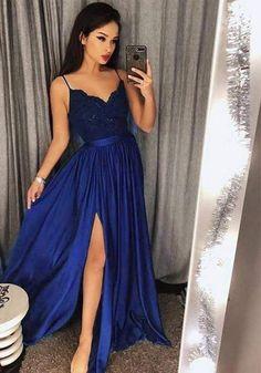 8fa0f30747bea On Sale Splendid Bridesmaid Dress Long Spaghetti Strap Prom Dresses Long  Lace V Neck Maxi High Split Evening Ball Gowns 2019