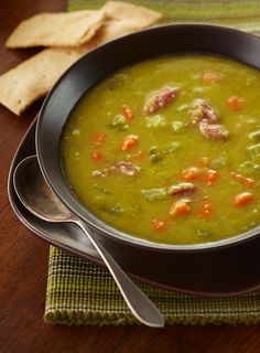 And old-fashioned split pea soup that's made with smoked ham shanks.