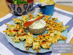 Ponto de Rebuçado Receitas: Espetos de Frango com pesto e maionese ligeira de majericao