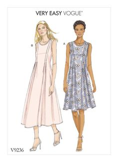 Very Easy Vogue sewing pattern. V9236 MISSES' RELEASED-PLEAT FIT-AND-FLARE DRESSES