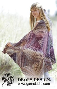 "Beautiful blanket in garter st with squares in ""Delight"" and ""Fabel"". Free #knitting pattern"