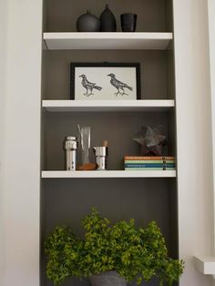 I like the recessed nook wall painted an accent color and the shelves painted white.