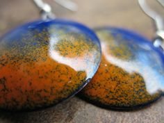 Gina Blue and Orange Enamel Copper Earrings by novaleigh on Etsy