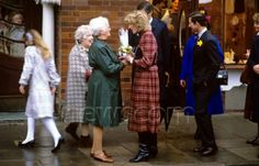 January 1985 Prince Charles and Princess Diana on a walkabout while visiting South Wales, UK