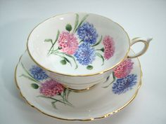 Paragon Tea Cup and Saucer, Blue and Pink Cornflowers tea cup and saucer set, Paragon teacup and saucer. by BeadsbyVince on Etsy