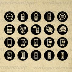 Printable Cell Phone Icon Circles Collage Sheet Digital Image Mobile Phone Download Graphic Antique Clip Art Jpg Png 18x18 HQ 300dpi No.4442 @ vintageretroantique.etsy.com