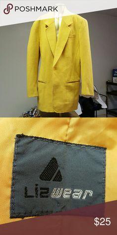 Wool Blazer Gold colored long Blazer Liz Claiborne Jackets & Coats Blazers