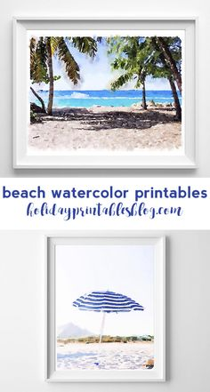 Free beach watercolor printables! Ocean inspired printable art perfect for your coastal summer decor!