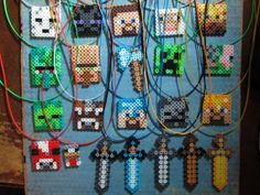 FREE Shipping Minecraft Inspired 22 Hand Made Birthday Party Favor Necklaces Characters Swords