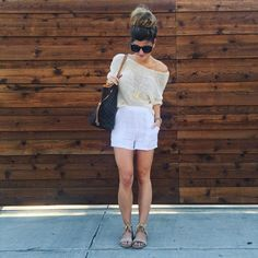 cream sweater + high waisted white shorts + lv neverfull tote