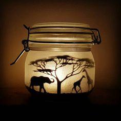 Safari jar, elephant, giraffe, meerkat (lit with a flickering LED light)