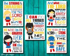 Girl Superhero Wall Art. Seek Justice, Micah 6 8. 1 John 4 4. Joshua 1:9 Be strong. Proverbs 18. Phil 413. Girl Superhero Decor. Bible Verse by LittleLifeDesigns on Etsy