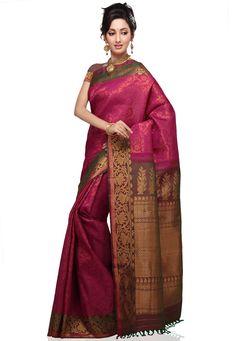 Dark Pink Pure Gadwal Handloom Silk Saree with Blouse Online Shopping: SHA62