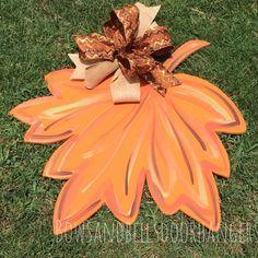 Fall Leaf fall monogram fall door hanger by BowsandBellsHangers