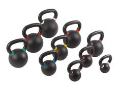 IRON COMPANY Garage Gym Kettlebell Sets with matte black powder coat finish, color banded handles, large numbering, machined base and warranty. Kettlebell Benefits, Kettlebell Circuit, Kettlebell Training, Crossfit Equipment, Crossfit Box, No Equipment Workout, Steady State Cardio, Military Workout