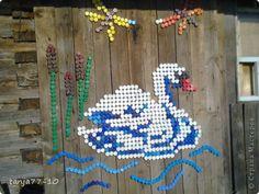 Мастер-класс Мозаика Лебедь из пробок повторюшка Материал бросовый Проволока фото 1