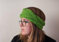 Chunky Braided Headband - Neon Green