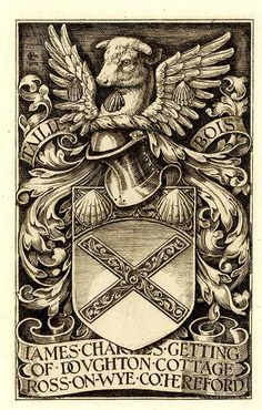 Ex libris by GW Eve for James Charles Getting, 1904 (from the archives King's College, Cambridge) : Viner 99