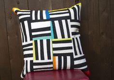 black and white strips improv pillow