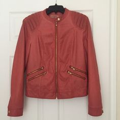 faux leather biker jacket size L Pull and bear faux leather biker jacket, size Large L, has a small scratch on the collar as shown in the picture, chest size 94 - 102 cm / 37 - 40 inches. Pull and Bear Jackets & Coats