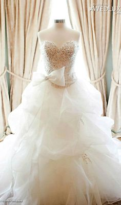 Fluffy white skirt with jeweled bodice. Perfect.