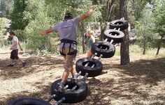 All the fun team building challenges I remember. Chapel Rock - Summer Camp and Conference Center - Prescott, AZThis Pin was discovered by Mam Kids Outdoor Play, Outdoor Play Spaces, Outdoor Gym, Kids Play Area, Backyard For Kids, Backyard Games, Tire Playground, Natural Playground, Outdoor Playground