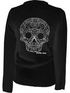 """Women's """"Quilted Sugar Skull"""" Cardigan by Pinky Star (Black)"""