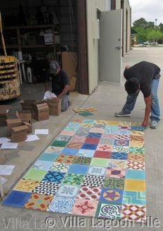 Patchwork tile in cement  http://www.villalagoontile.com/patchwork-tile-floors.html#