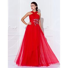 Formal+Evening+/+Military+Ball+Dress+-+Ruby+Plus+Sizes+/+Petite+Sheath/Column+High+Neck+Floor-length+Tulle+–+AUD+$+142.99