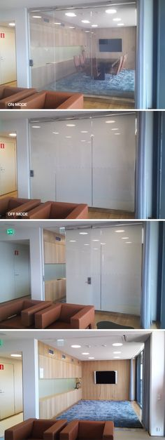 Privacy Glass fitted in offices - FINLAND  DreamGlass® privacy glass enables you to have instant privacy at the flick of a switch. DreamGlass® is a laminated glass panel composed of polymer dispersed liquid crystal film (PDLC). By applying a small electrical current, users can change its state from opaque to transparent, and vice versa.