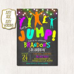 Jump Invitation Trampoline party invitation Bounce House