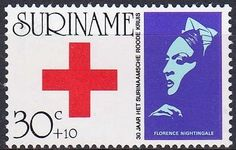 Suriname - Red Cross and nurse Florence Nightingale on a  postage stamp