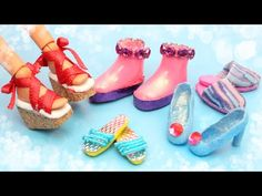 5 DIY Miniature Barbie Shoes - How to Make Doll Miniatures Tutorial Barbie E Ken, Barbie Dolls Diy, Diy Barbie Clothes, Barbie Shoes, Doll Shoes, Doll Clothes, Doll Shoe Patterns, Barbie Sewing Patterns, Sewing Dolls
