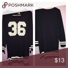 Jersey dress Thigh length knot jersey dress with numbers 36 on it. Navy blue and White H&M Dresses Long Sleeve