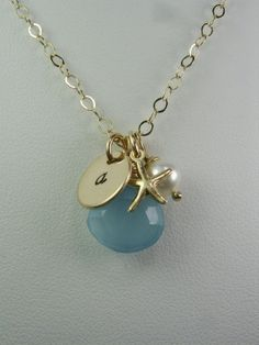 Personalized Bridesmaid Necklace  Beach by MesmericJewelry on Etsy, $38.00